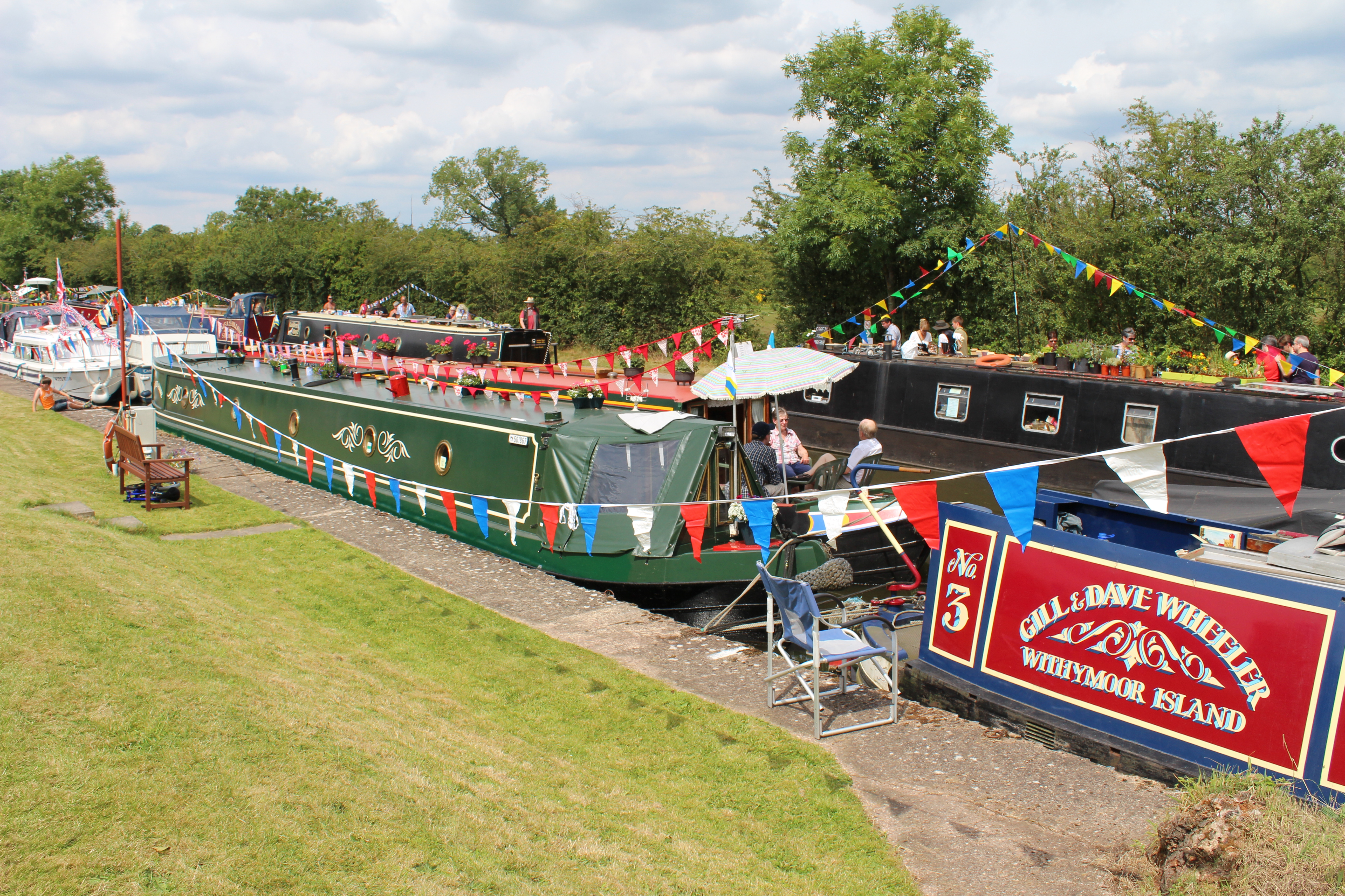 Photograph: Colourful scene at the south end of our moorings during the BBCC Rally 2014